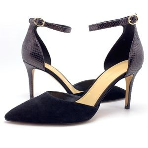 NEW Marc Fisher Black D'Orsay Ankle Strap Pumps